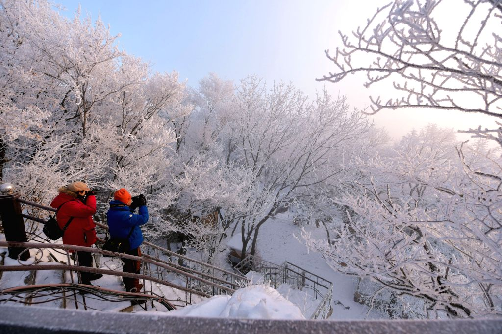 Tourists take photos of the scenery of rime-covered trees in the Jingpohu Global Geopark in Mudanjiang, northeast China's Heilongjiang Province, Jan. 11, 2020.