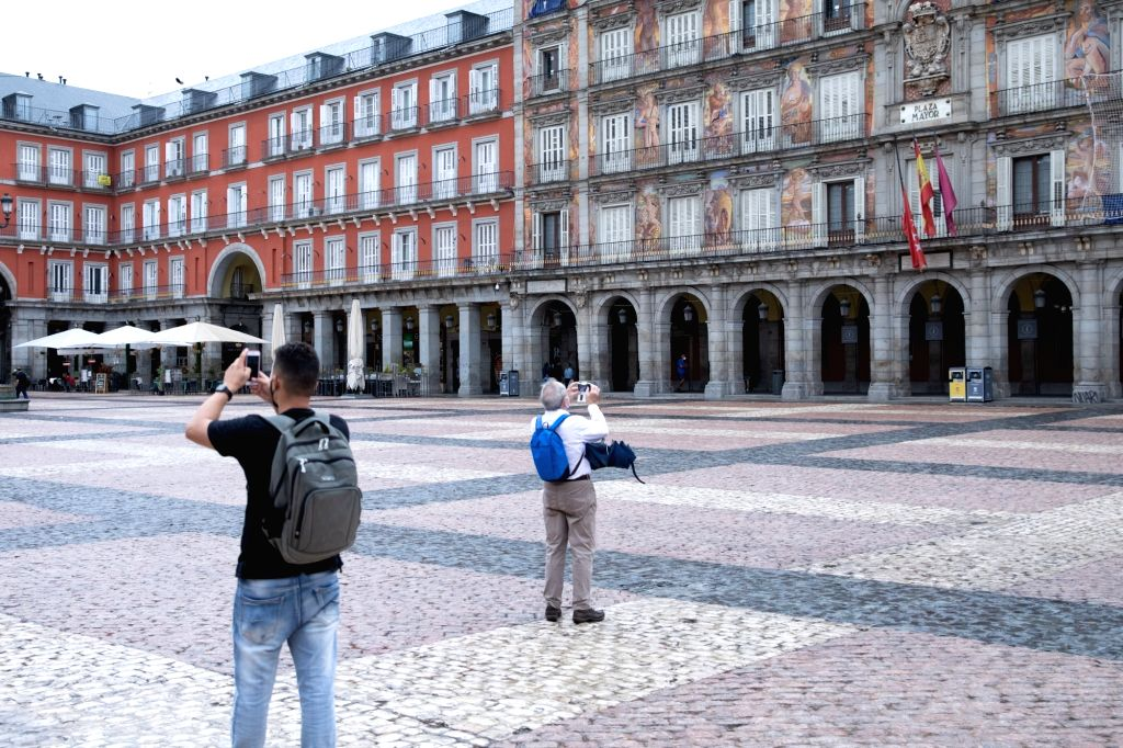Tourists visit Plaza Mayor amid the COVID-19 pandemic in Madrid, Spain, Sept. 18, 2020.