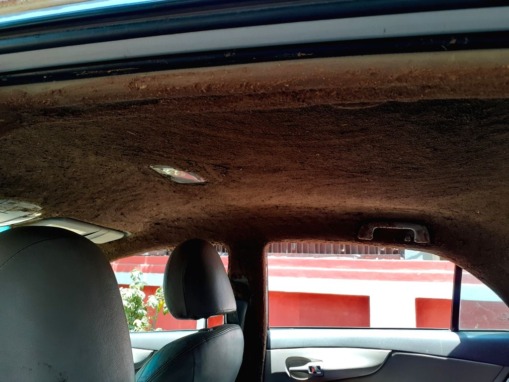 Toyota Corolla Altis plastered with cow dung.