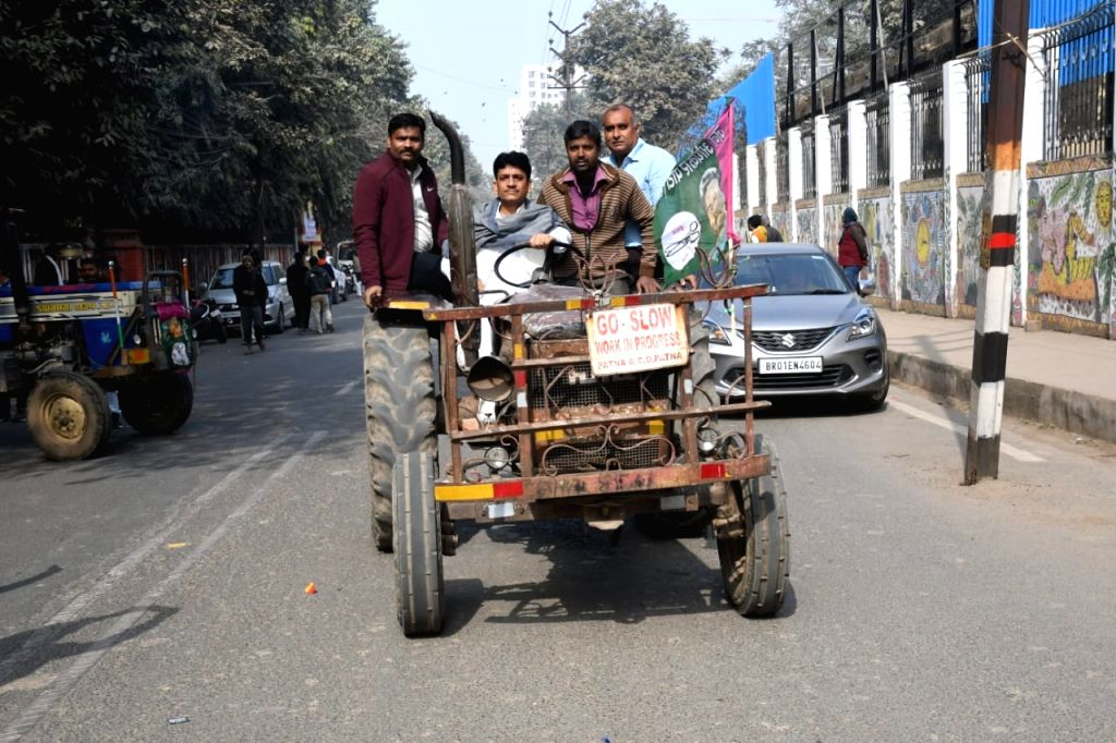 Tractor rally in support of famers in Patna on Tuesday, 26 january 2021