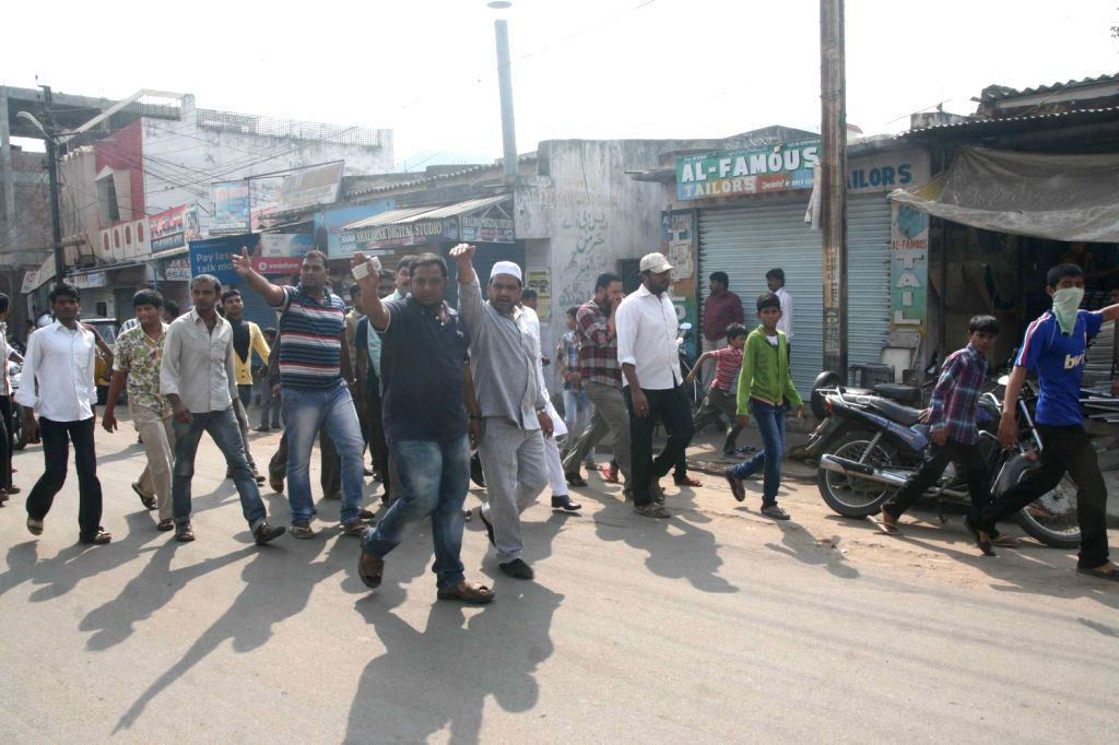 Traders in the Hyderabad old city shut down shops in protest against the MIM party chief and Hyderabad MP Asaduddin Owaisi arrest in Hyderabad.