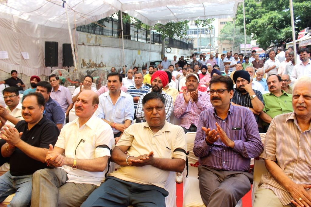 Traders of automotive parts stage a demonstration against GST at Kashmiri Gate in New Delhi on June 20, 2017.