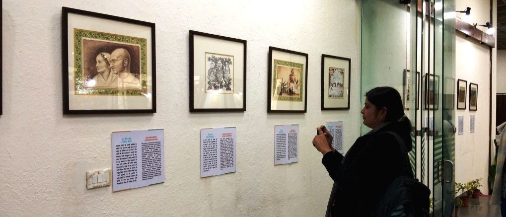 Traditional art on life of Mahatma Gandhi on view in Delhi. (Photo Source: Exim Bank)