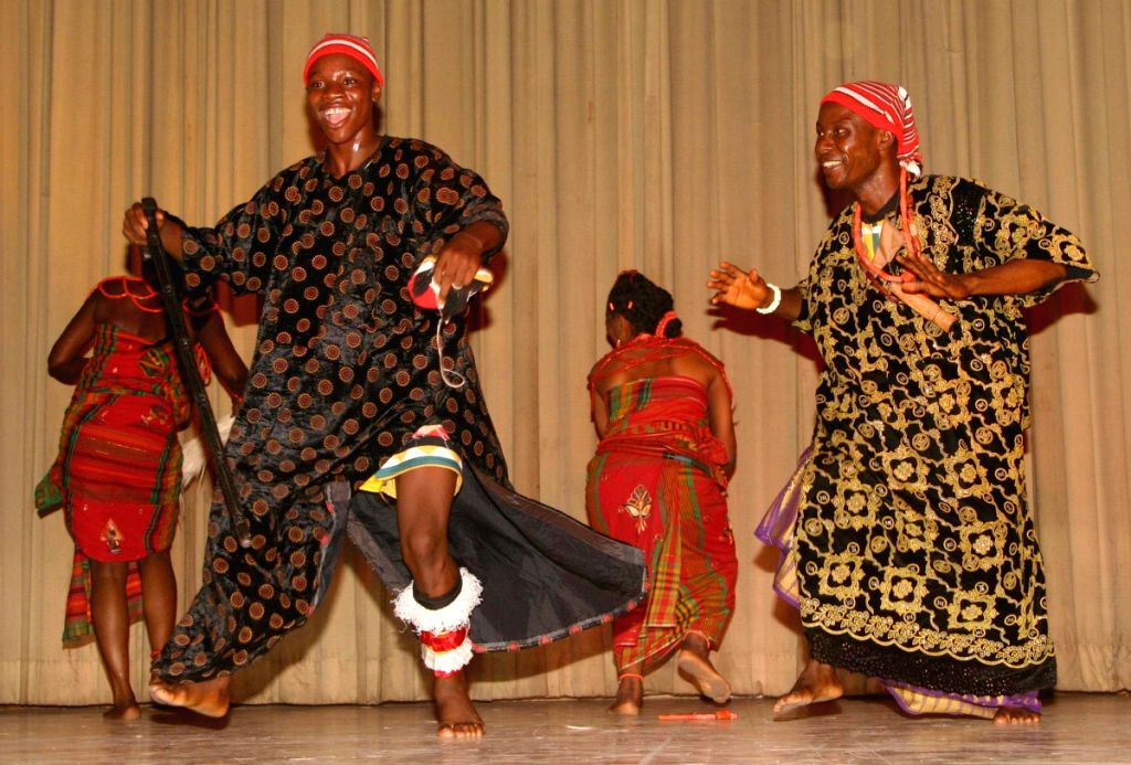 Traditional artists from Nigeria presenting traditional dance at Sir Satya Sai International Center,in New Delhi on Tuesday.