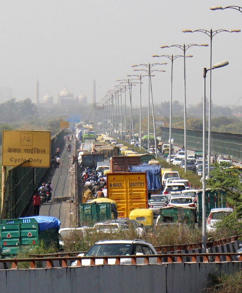 Traffic Jam at Geeta Colony in East Delhi on Friday 26,Feb,2021.