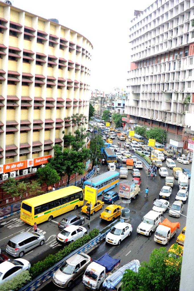 Traffic Jam at Kolkata's CR Avenue after rains on June 24, 2017.