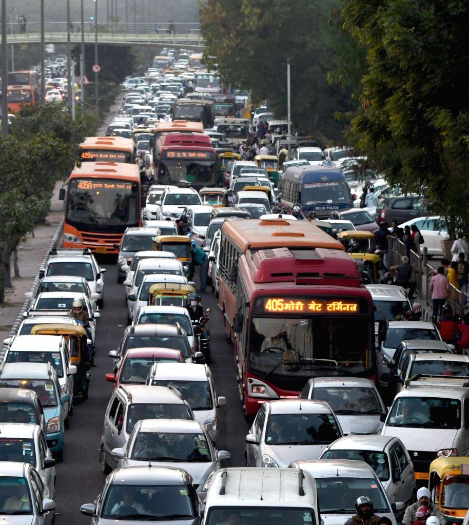 Traffic jam at Pragati Maidan due to India International Trade Fair in New Delhi on Nov 27, 2016.