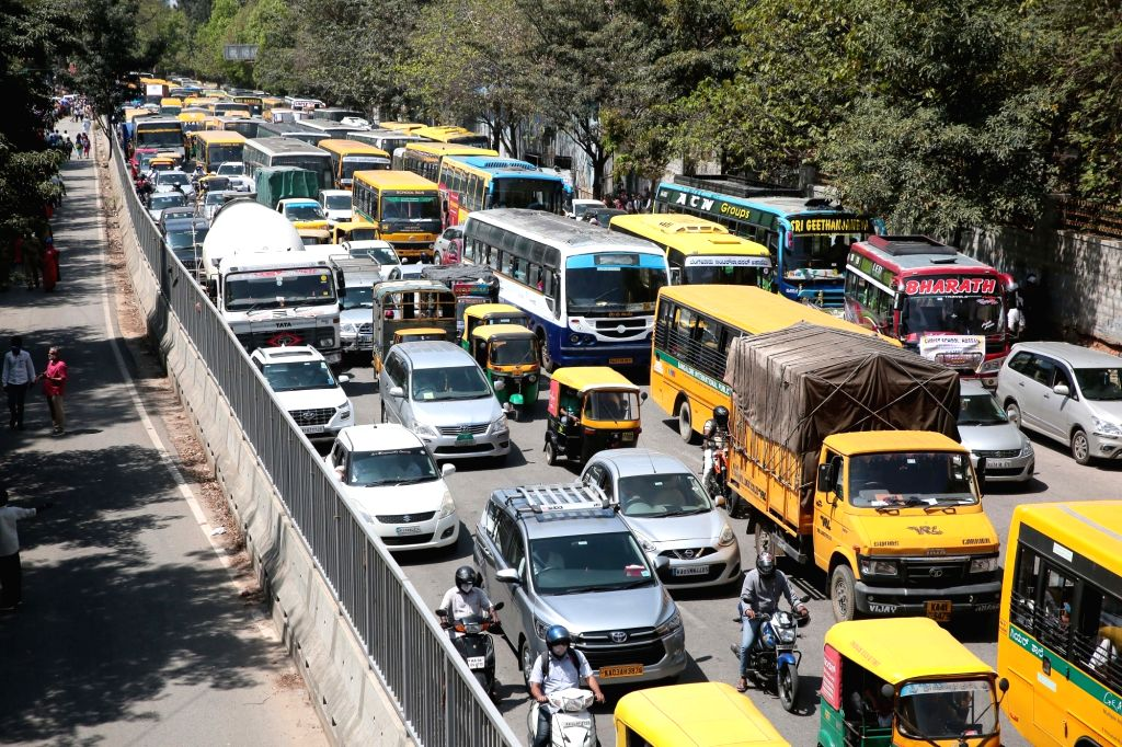 Traffic jam at Seshadri Road near Freedom park during Teachers protest rally against the state governments in Bengaluru, Karnataka on Tuesday 23rd February 2021.