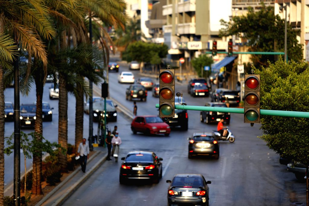 Traffic lights are out on a street during a blackout in Beirut, Lebanon, July 5, 2020. Hundreds protested on Sunday near Lebanon's state power utility Electricite Du ...