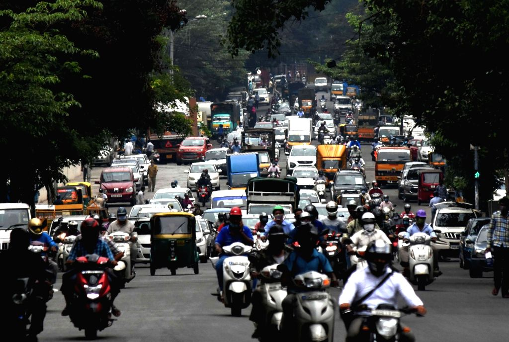 Traffic movement seen normal during the extended nationwide lockdown imposed to mitigate the spread of coronavirus, in Bengaluru on May 8, 2020.