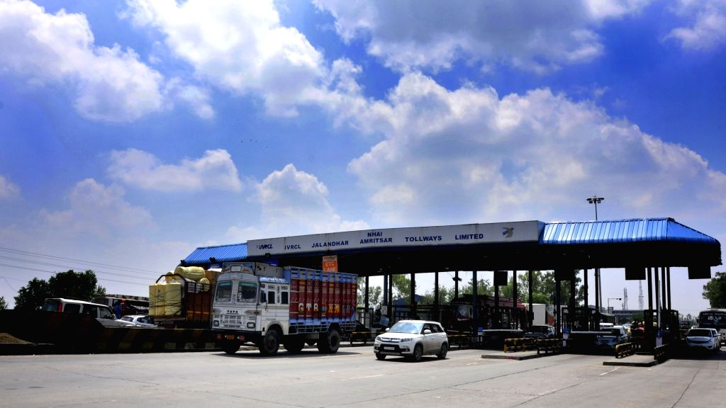Traffic moves smoothly as Goods and Services Tax (GST) came into effect from midnight abolishing Octroi at a tollway plaza near Amritsar on July 1, 2017.