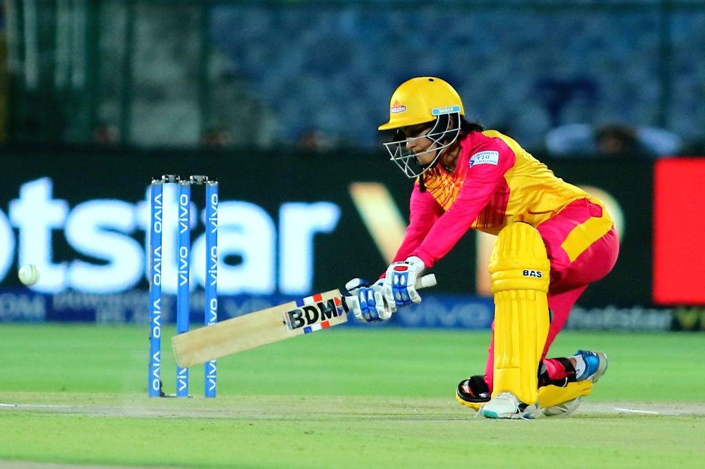 Trailblazers' Harleen Deol in action during the 1st match of Women's T20 Challenge 2019 between Trailblazers and Supernovas at Sawai Mansingh Stadium in Jaipur, on May 6, 2019.