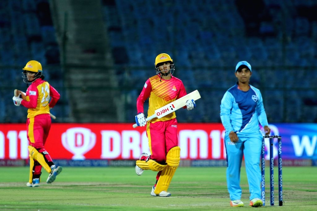 Trailblazers skipper Smriti Mandhana and Harleen Deol during the 1st match of Women's T20 Challenge 2019 between Trailblazers and Supernovas at Sawai Mansingh Stadium in Jaipur, on May 6, ...