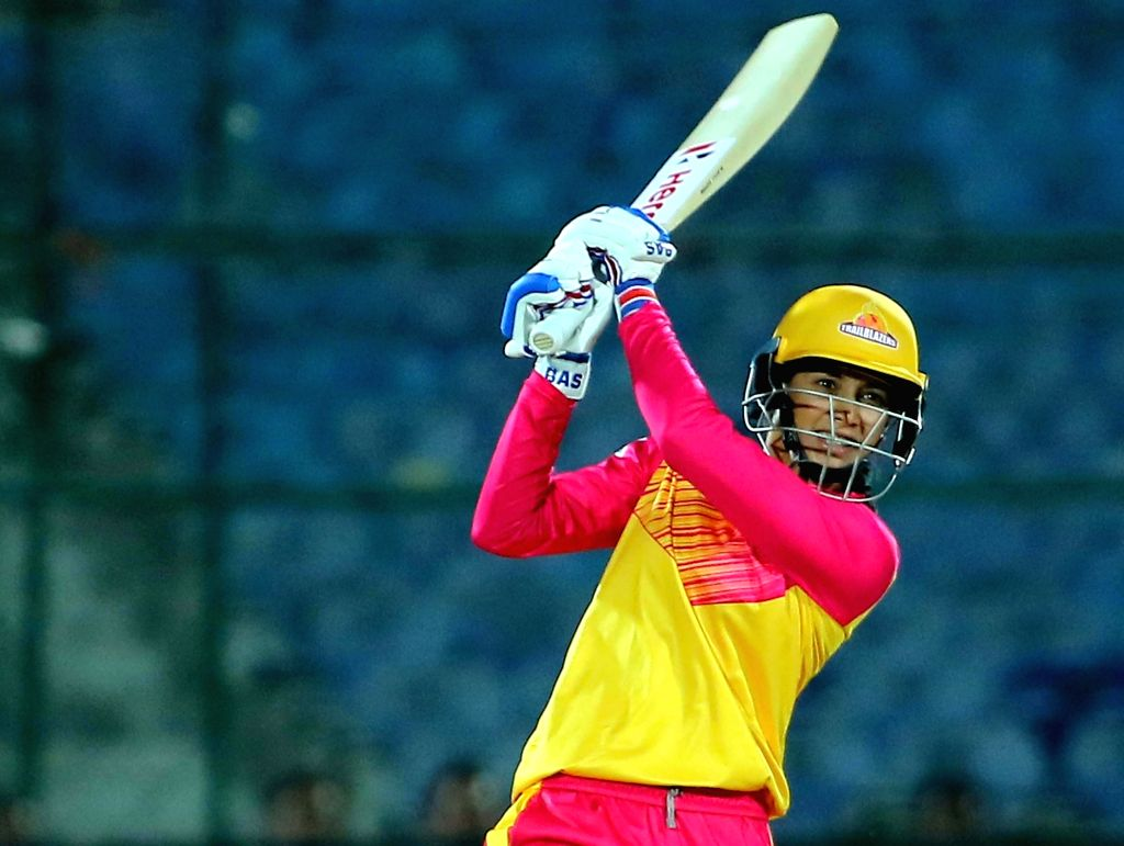 Trailblazers skipper Smriti Mandhana in action during the 1st match of Women's T20 Challenge 2019 between Trailblazers and Supernovas at Sawai Mansingh Stadium in Jaipur, on May 6, 2019.