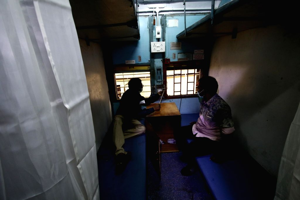 Train coaches being converted into isolation wards as part of a unique endeavour of the Indian railways to deal with rush of COVID-19 patients, in Chennai on March 30, 2020.