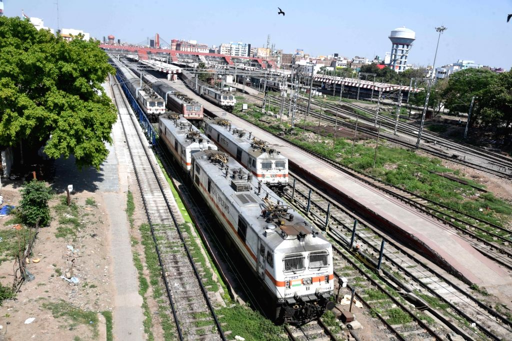Trains at a halt at the Patna Junction Railway Station on Day 2 of the 21-day nationwide lockdown imposed by the Narendra Modi government over the coronavirus pandemic; on March 26, 2020. - Narendra Modi