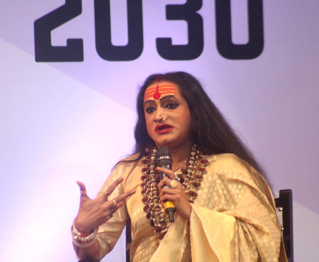 Transgender activist Laxmi Narayan Tripathi addresses during an interactive session at the United Nations Young Changemakers Conclave in New Delhi on Feb 24, 2018. - Laxmi Narayan Tripathi