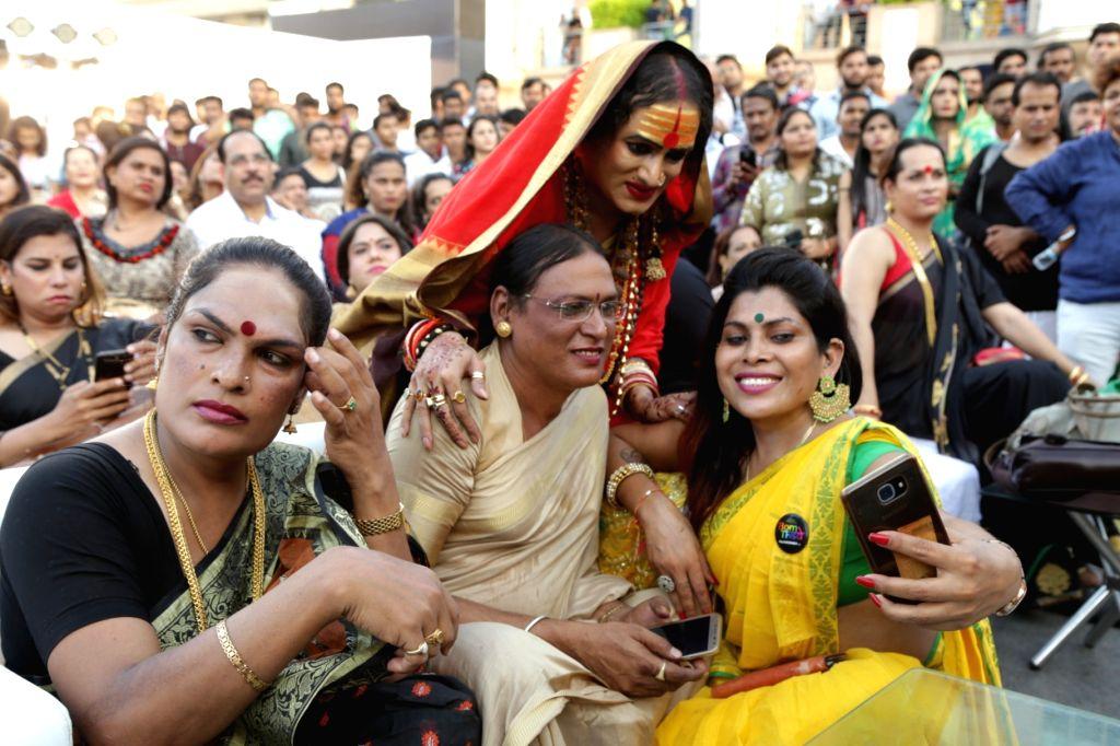"Transgender activist Laxmi Narayan Tripathi poses for a selfie during the ""7th Hijra Habba"" programme, in New Delhi on Sept 11, 2018. - Laxmi Narayan Tripathi"