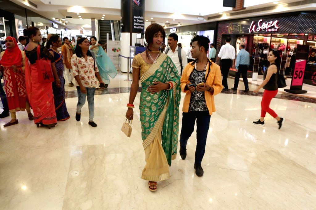 """Transgender people arrive to participate in the """"7th Hijra Habba"""" programme, in New Delhi on Sept 11, 2018."""