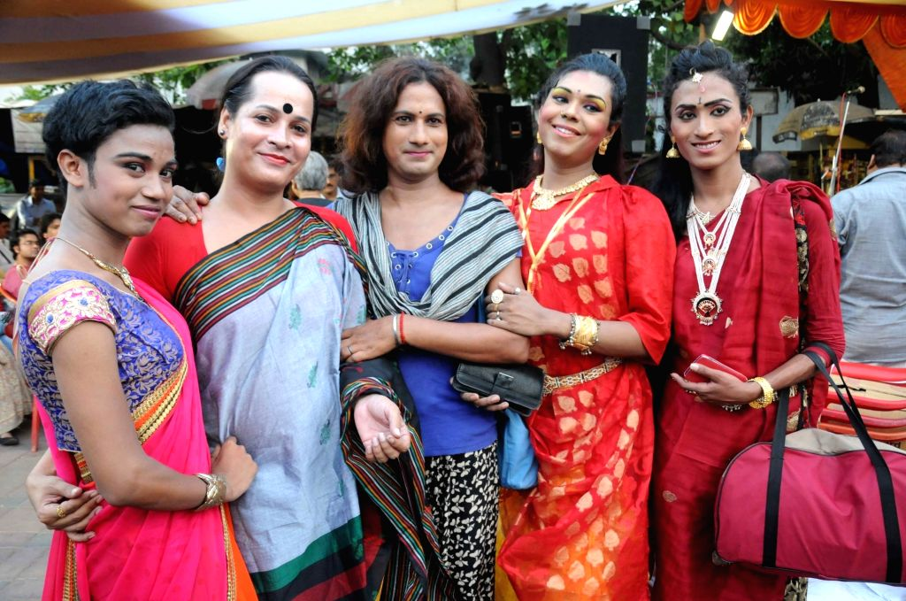 Transgenders celebrate Hijra Day -transgenders' day- in Kolkata, on April 15, 2016.