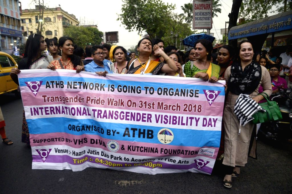 Transgenders participate in a rally organised on International Transgender Day of Visibility in Kolkata, on March 30, 2018.