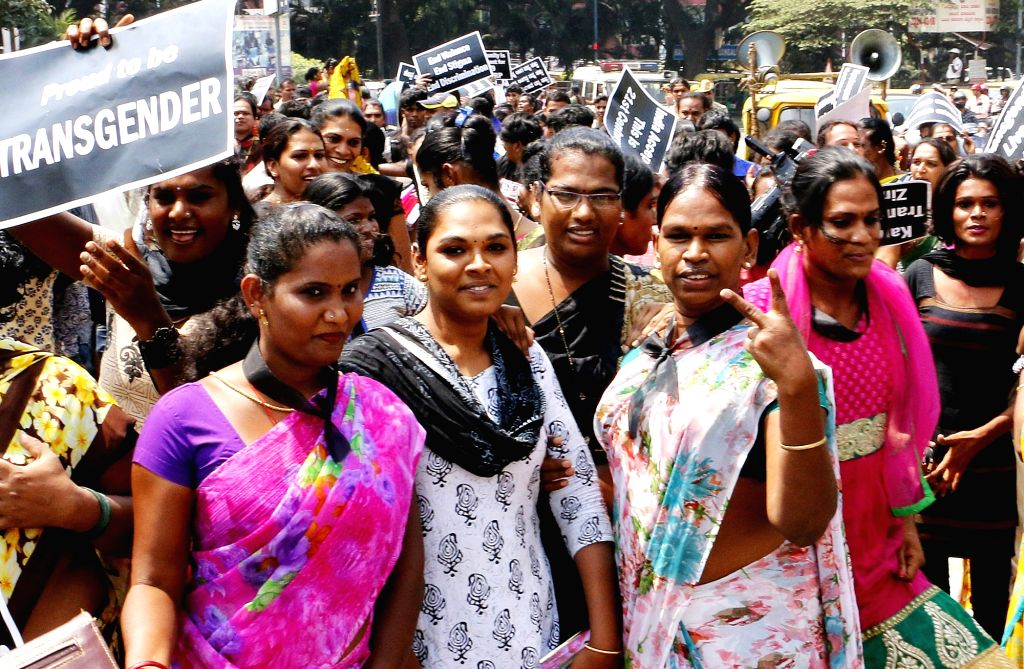 Transgenders stage a demonstration to press for their demands in Bengaluru on Oct 21, 2016.