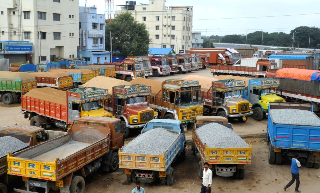 Transporters under the banner of All India Motor Transport Congress (AIMTC) go on a nationwide strike to protest against the present toll system and 'one time' payment of taxes in ...