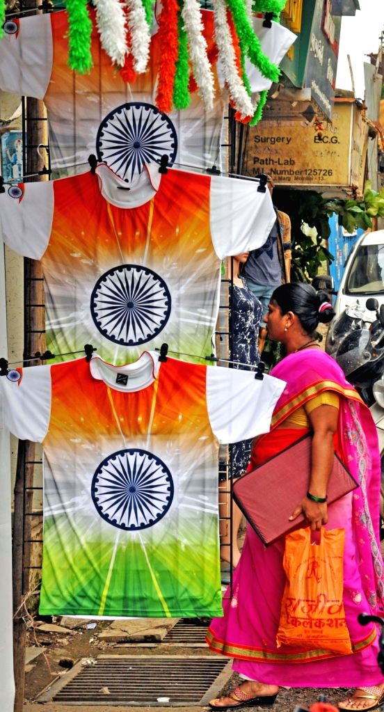 Tri-colour T-shirts on display in a Mumbai shop ahead of Independence Day on Aug 13, 2016.
