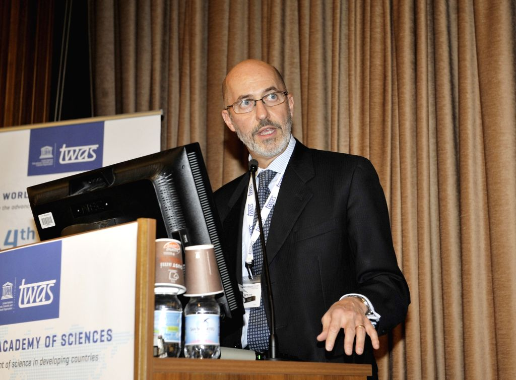 TRIESTE, Nov. 28, 2018 - Italian government representative Fabrizio Nicoletti addresses the 28th TWAS general meeting in Trieste, Italy, Nov. 27, 2018. Scientists from developing and developed ...
