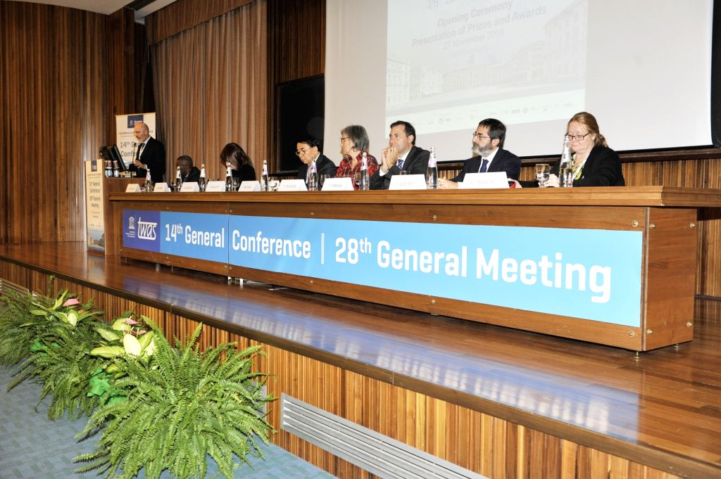 TRIESTE, Nov. 28, 2018 - The 28th TWAS general meeting is held in Trieste, Italy, Nov. 27, 2018. Scientists from developing and developed countries met here on Tuesday to kick off the 28th general ...