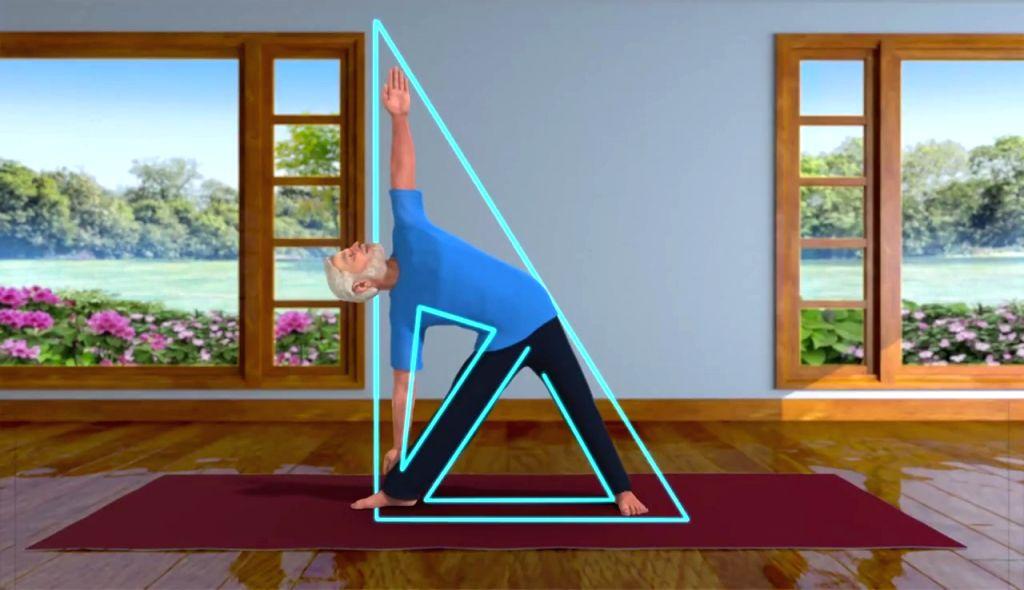 Trikonasana -- a yoga pose.
