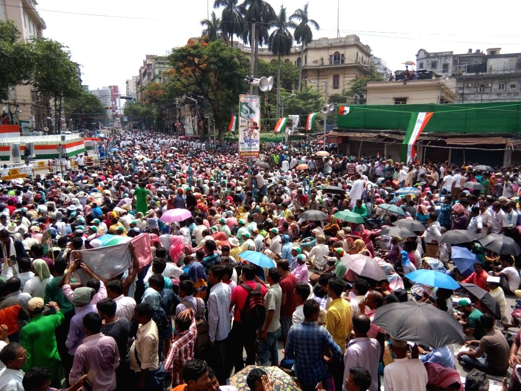 Trinaamool Congress party activists observe Martyrs' Day in Kolkata on July 21, 2019.