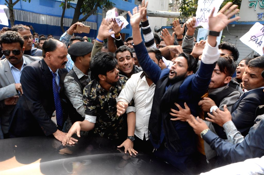 Trinamool Chhatra Parishad (TMCP) activists protesting against the Citizenship Amendment Act (CAA) 2019, barge into the Calcutta University campus and disrupt the university's annual ...