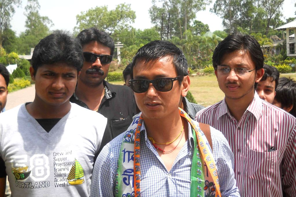 Trinamool Congress candidate for 2014 Lok Sabha Election from Darjeeling Lok Sabha seat, Bhaichung Bhutia during an election campaign in Malda of West Bengal.