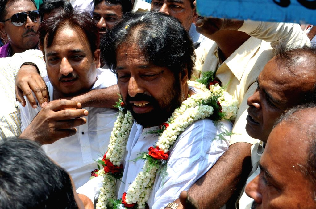 Trinamool Congress candidate for 2014 Lok Sabha Election from North Kolkata parliamentary constituency, Sudip Banerjee comes out after filing his nomination papers in Kolkata on April 23, 2014.