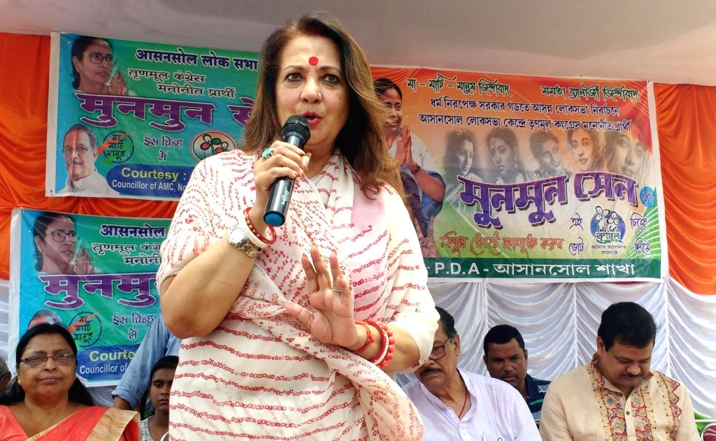 Trinamool Congress candidate for Asansol,  Moon Moon Sen during a party rally in Kalyanpur, West Bengal on April 27, 2019.