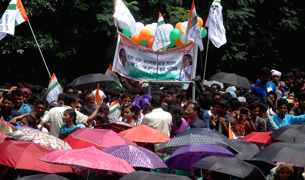 Trinamool Congress Chhatra Parishad activists during a programme organised on the foundation day of the party in Kolkata on Aug 28, 2014.