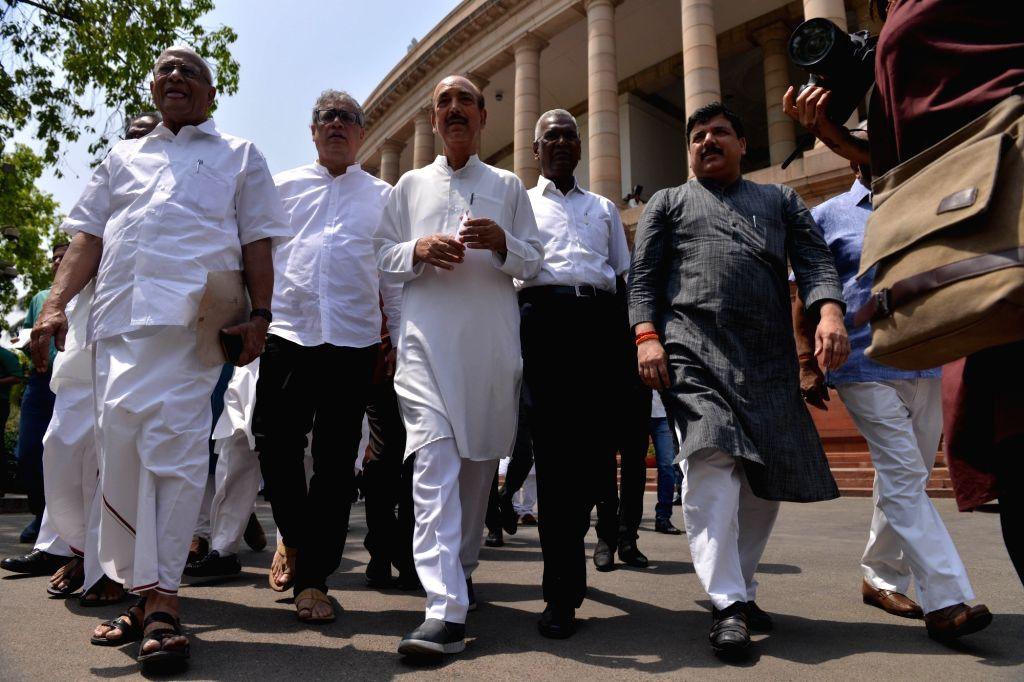 Trinamool Congress Derek O'Brien, Congress MP Ghulam Nabi Azad, CPI MP D. Raja and AAP MP Sanjay Singh at Parliament in New Delhi on April 4, 2018. - Sanjay Singh
