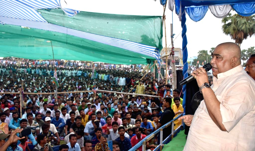 Trinamool Congress leader Anubrata Mondal during a party rally in Mangalkot of West Bengal's Burdwan on April 26, 2019.