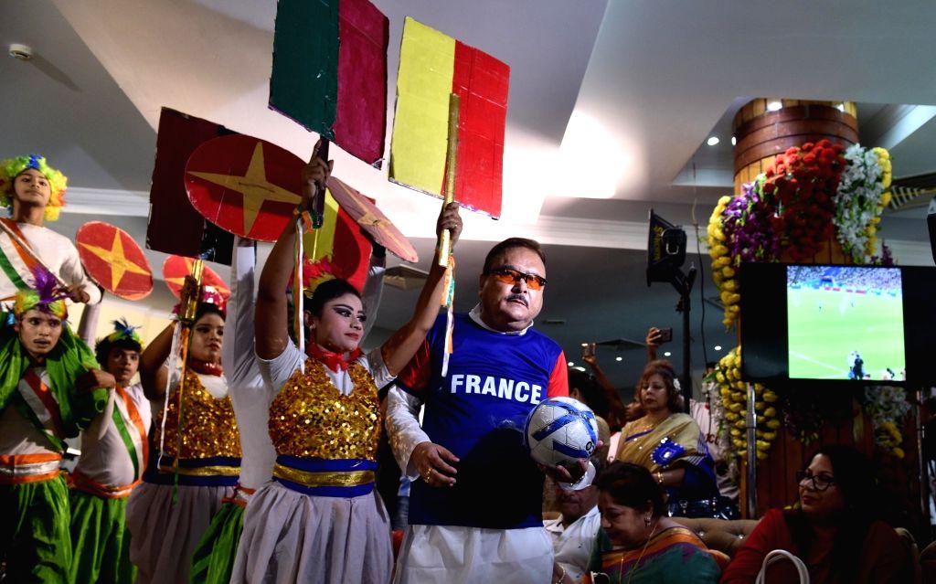 Trinamool Congress leader Madan Mitra during a programme organised ahead of FIFA World Cup 2018 final match between France and Croatia, in Kolkata on July 15, 2018.