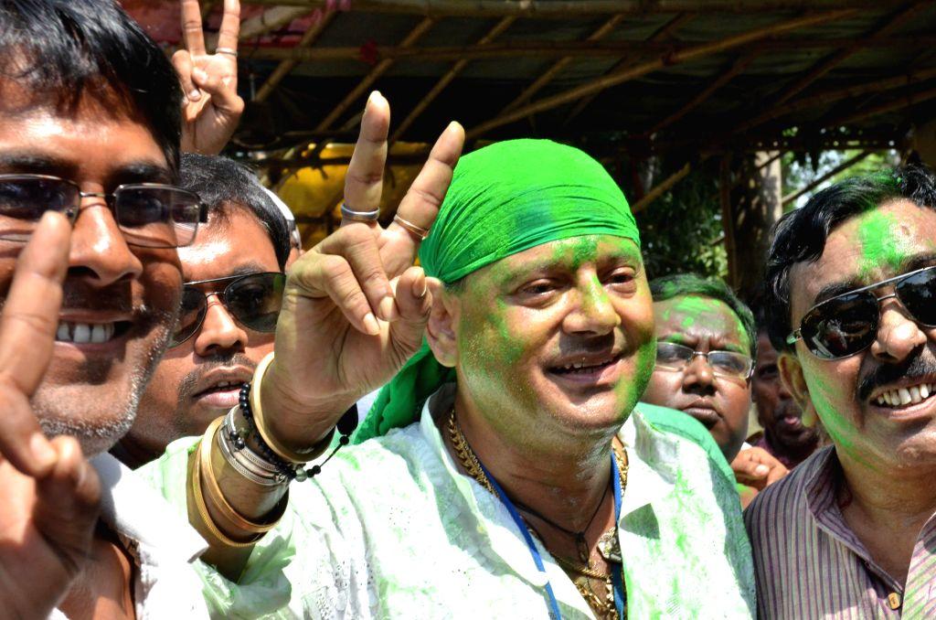 Trinamool Congress leader Tapas Paul celebrates after winning Krishnanagar Lok Sabha seat in Nadia district of West Bengal on May 16, 2014.