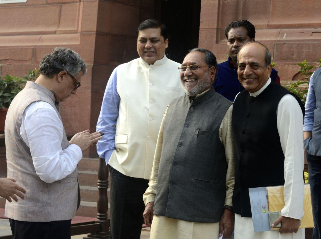 Trinamool Congress MPs Dinesh Trivedi, Derek O' Biren and others at Parliament in New Delhi on Dec 1, 2016.