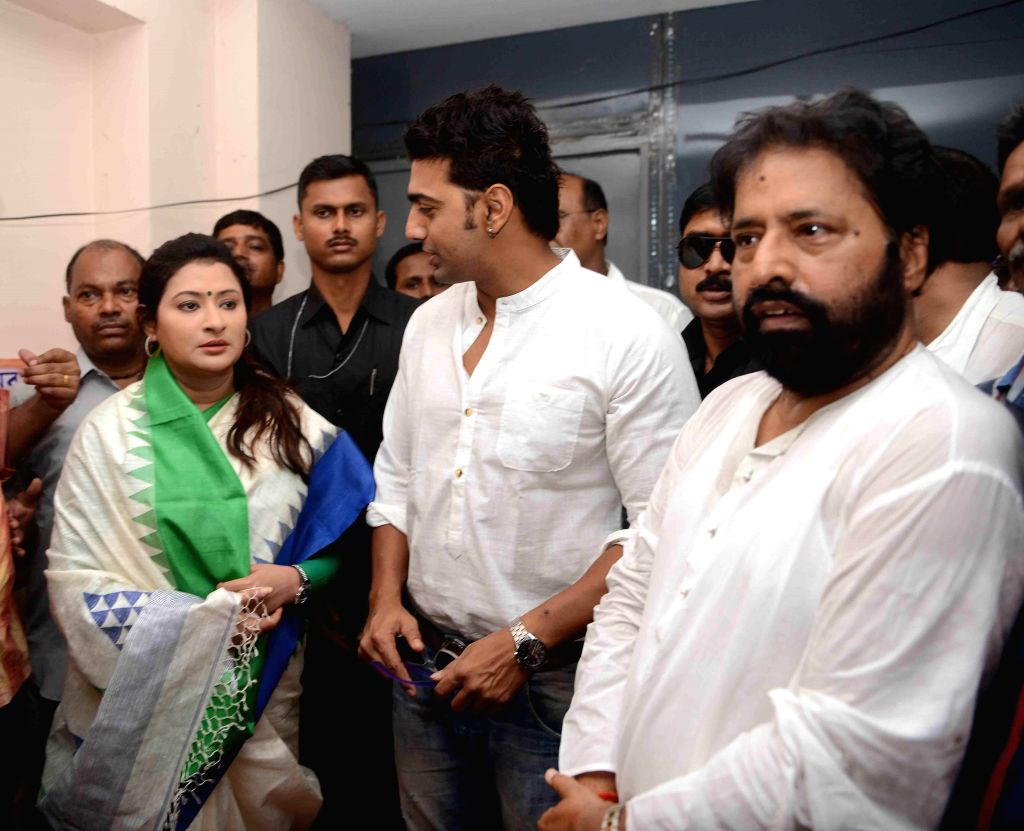Trinamool Congress MPs Sudip Bandyopadhyay and Dev with Nayna Bandyopadhyay, Trinamool Congress candidate from Chowringee Assembly seat  during an election campaign in Kolkata on Sept 10, 2014.