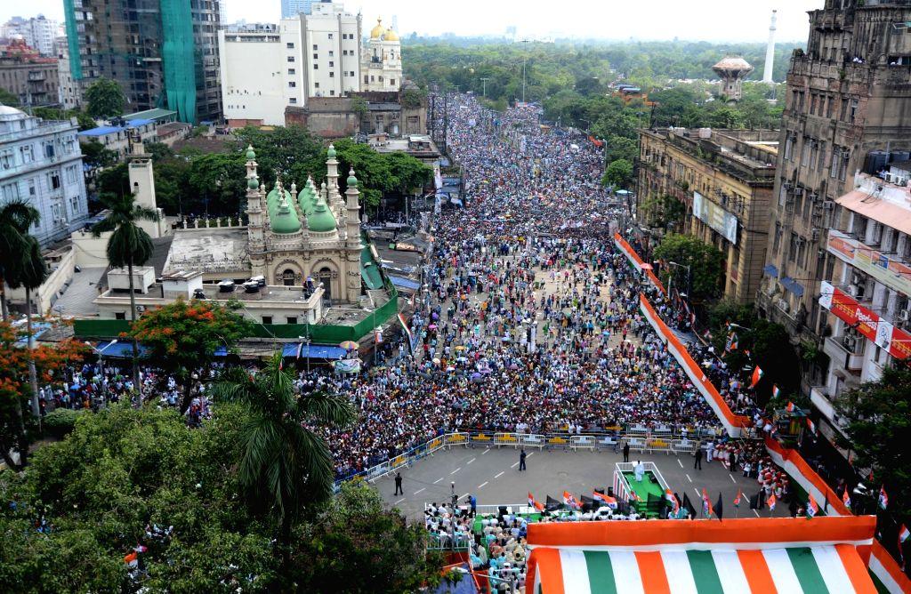 Trinamool Congress party activists observe Martyrs' Day in Kolkata on July 21, 2019.