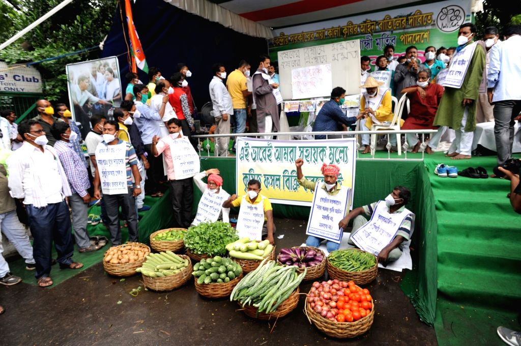 Trinamool Congress (TMC) leader and West Bengal Cabinet Minister Becharam Manna along with farmers protests against Farm Bills 2020, in front of Gandhi statue, Kolkata on Sep 25, 2020. - Becharam Manna