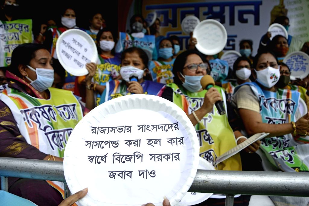 Trinamool Congress (TMC) women workers and activists led by West Bengal Ministers Chandrima Bhattacharya and Shashi Panja stage a demonstration against the recently passed controversial Farm ... - Chandrima Bhattacharya and Shashi Panja