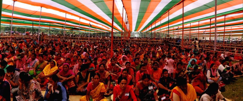 Trinamool Congress workers during a party rally in West Bengal's Harora on May 11, 2019.
