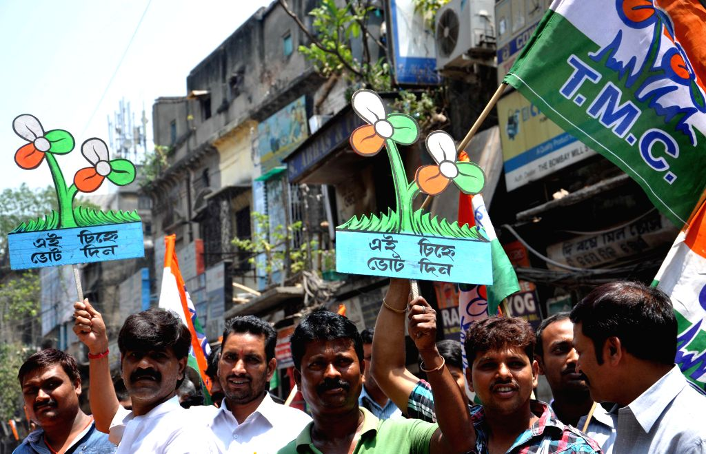 Trinamool Congress workers during an election campaign in Kolkata on April 23, 2014.