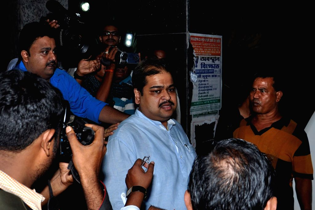 Trinamool leader and Rajya Sabha member, Srinjay Bose comes out after appearing before CBI in connection with multi-crore-rupee Saradha chit fund scam in Kolkata on Sept 10, 2014.