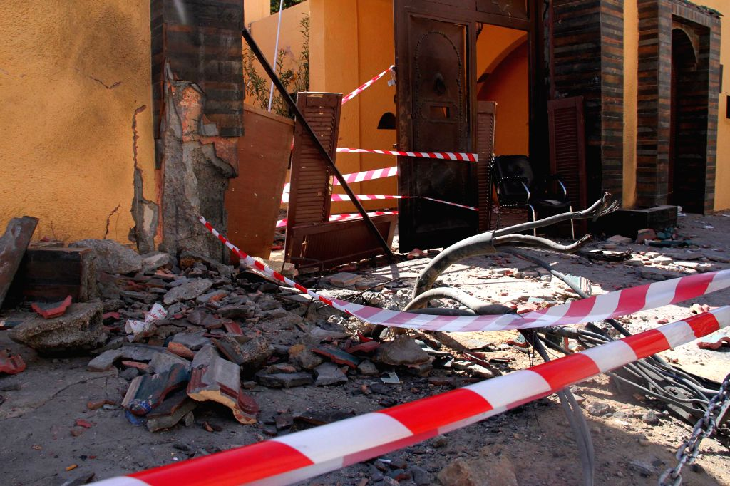 Photo taken on April 13, 2015 shows the explosion site of Moroccan embassy in Tripoli, Libya. A bomb exploded near the Moroccan embassy in Libya's Tripoli early ...